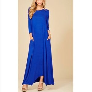 Dresses & Skirts - Royal Blue 3/4 Sleeve Maxi Dress with Pockets